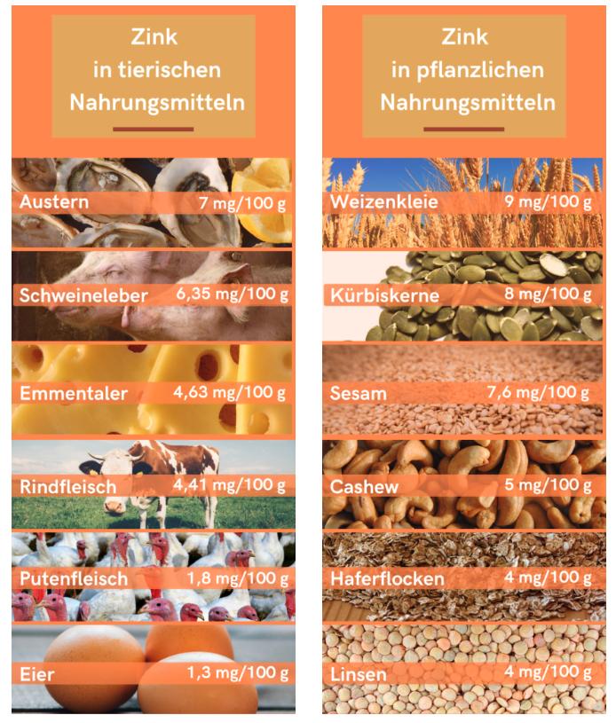 Tabelle Zink in tierischen und pflanzlichen Lebensmitteln